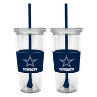 Dallas Cowboys 2-pc. Double-Walled Straw Tumbler Set (Cow Team)