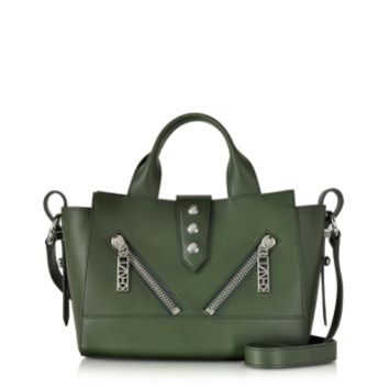 Kenzo Designer Handbags Olive Green Leather Mini Kalifornia Handbag