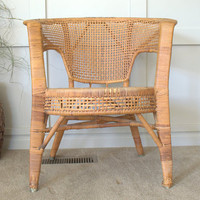 1960s Calif Asia Vintage Wicker Porch Chair, California Barrel Rattan Chair with Rolled Arms,  Boho Decor Wicker Chair