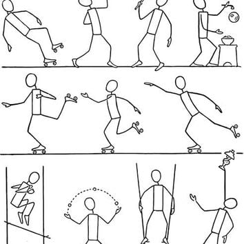 How to draw people in action stick figures drawing tutorial digital download image graphics craft art printables