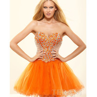 (PRE-ORDER) Terani 2014 Prom Dresses - Orange Mesh & Crystal Encrusted Prom Dress