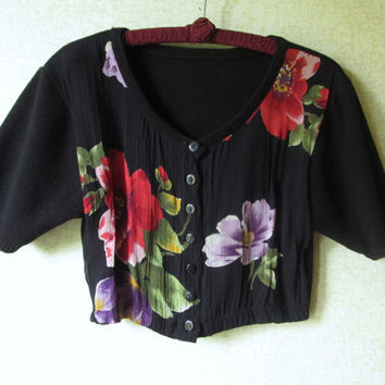 Boho Top Cropped Cardigan black shrug short sleeve sweater vintage 80s 90s floral flowers red purple gypsy clothing women 6 small medium