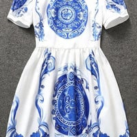 White Short Sleeve Blue Floral Print Flare Dress