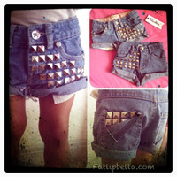 Infant Baby Toddler Kids girl studded shorts by RepurposedApparel