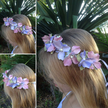 Floral crown, Bridal crown,purple hair wreath,flower halo crown,hair wreath,Bridal headpiece,Hair vine,boho crown,tie back halo crown etsy
