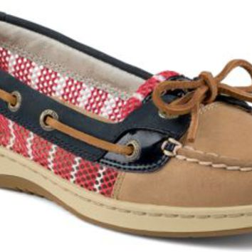 Sperry Top-Sider Angelfish Breton Stripe Mesh Slip-On Boat Shoe Linen/Navy/Red, Size 5.5M  Women's Shoes