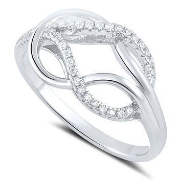Sterling Silver Simulated Diamond Love knot Ring