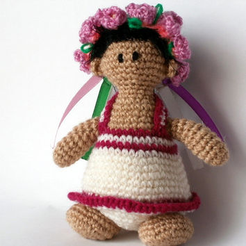 Crochet Wreath  Toys amigurumi dress pink Mallow Crochet Dolls Flowers Ukraine Doll children Gifts for kids Crochet Toy
