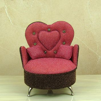 Fabrics Sofa Model Jewellery and Accessories Case Decorative Cloth Chair Jewelry Bin Dressing Container Gift and Craft Ornament