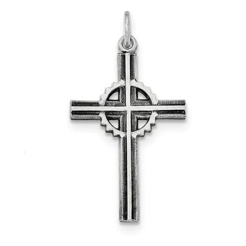 Sterling Silver Antiqued and Brushed Celtic Cross Pendant