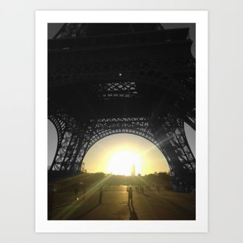 Eiffel tower Paris black and white with color GOLD Art Print by Mr Splash