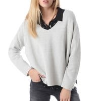 Q2 Gray Knit Crop Sweater With V Neck