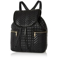 River Island Black quilted rucksack