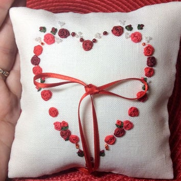 Red Silk Ribbon Embroidery Ring Bearer Pillow, Ring Pillow, Engagement