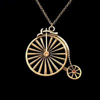 Bronze and topaz swarovski penny-farthing bicycle charm pendant necklace
