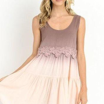 Ombre  Sleeveless Mauve Riley Dress