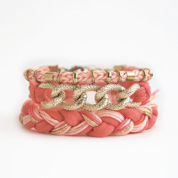Coral bracelet stack, boho set of bracelets with chunky chain and braid, coral arm candy, stacking bracelets