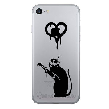 Banksy iPhone 7 Decals - Love Rat  iPhone 6 Plus Sticker - Galaxy s7 Phone Decal - Vinyl Decals - iPhone 7 Plus stickers - banksy silhouette