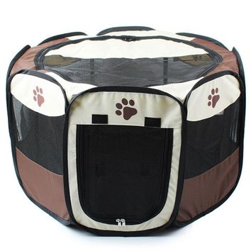 3 Colors Portable Pet Dog House Cage Folding Dog Cat Outdoor Tent Bed Comfortable Breathable Big Space Kennel For Pet Dogs Cats