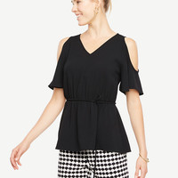 Cold Shoulder Tie Waist Top | Ann Taylor