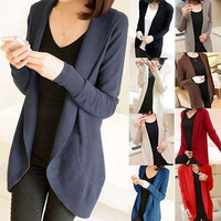 Classical Womens Long Sleeve Knit Open Front Cardigan Top Jacket Jumper Sweaters = 1920406468