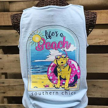 Southern Chics Apparel Life's a Beach Dog Comfort Colors Girlie Bright T Shirt Tank Top