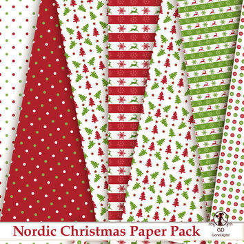 Nordic Christmas Digital Paper Pack Printable Designs Instant Download Scrapbooking Collection - Red Green - Pack of 18