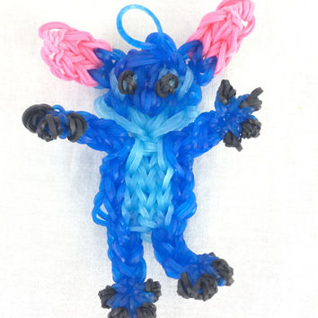 Stitch From Lilo and Stitch Rainbow Loom Handmade Rubber Band Keyring Party Favors