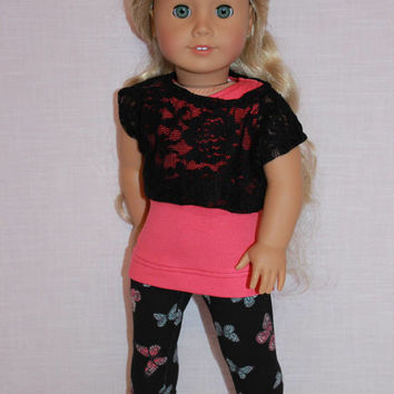 18 inch doll clothes, tank top, lace off the shoulder tee and butterfly print leggings, 18 inch doll clothes