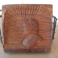 Early American Relief Wood Carving Plaque Primitive Hand Carved Portrait Folk Art Rustic Colonial Victorian Style Wall Art Hanging