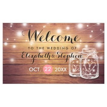 Rustic Wood Mason Jar String Light Wedding Welcome Banner