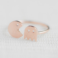Cute Pacman adjustable ring Rose gold