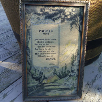 Mother Mine Poem Gibson Print 1920s Wood Frame 10.75 x 6.75 inches