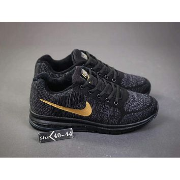 Nike Air Zoom Popular Autumn Winter Flyknit  Sports Villi Running Shoes Air Cushion Sneakers Grey(Gold Hook) I-SSRS-CJZX