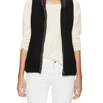 Eileen Fisher Women's Wool Parka Trim Collar Shirt Vest - Black -
