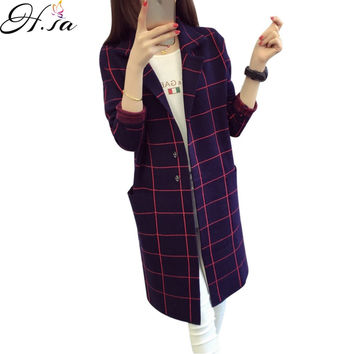 Women Sweater Cardigans 2016 Autumn Winter Long Coat Korean Style Plaid Poncho Casual Oversized Cardigans Cashmere Sueter Mujer