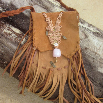 rose quartz macrame tribal fringe leather bag Black friday sale