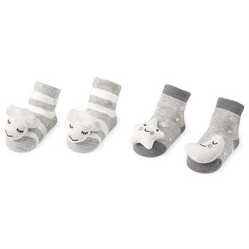 MUD PIE MOON & STAR RATTLE TOE SOCKS