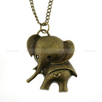 Necklace--retro elephant necklace, gift necklace for girls, gift for kids