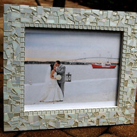 Mosaic Picture Frame, White on White