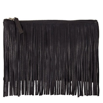 SOFIE FRINGE LEATHER CLUTCH-black-leather-one