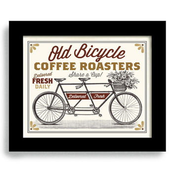 Coffee Art Room Decor Wall Print Kitchen Art Drinks Coffee Lovers Bicycle Art Tandem Bike Art Coffee Beans