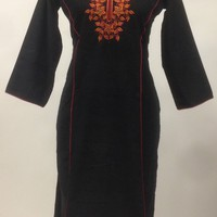 Corduroi Cotton Kurti - Black