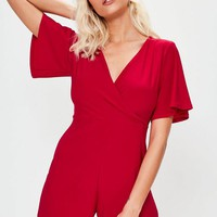 Missguided - Red Slinky Wrap Romper