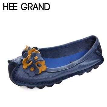 HEE GRAND Genuine Leather Loafers Casual Platform Womens Slip On Flats Moccasin Comfortable Shoes XWD4523