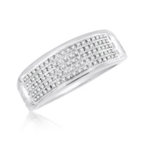 Diamond Micropave Mens Ring 0.19 Cttw in 10KT White Gold