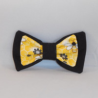Yellow And Black Bee Themed Fabric Hair bow With Choice of Elastic or Clip