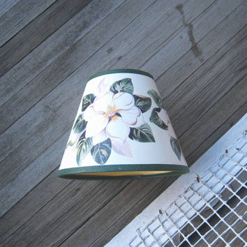 Cottage Chic Off-White Lamp Shade; Magnolia Flower Print - Small, Sturdy Paper Floral Lamp Shade - Shabby Chic Clip On Lamp Shades