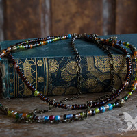 Antiqued Brass & Czech Glass Multistrand Necklace