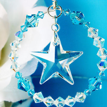 Rear View Mirror Car Charm Turquoise Blue Crystal Star Car Accessories